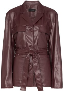 belted faux leather jacket - Red
