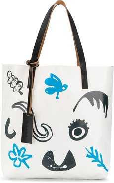 Faces print tote bag - White