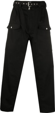 wide leg belted trousers - Black