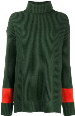 contrast stripe ribbed jumper - Green