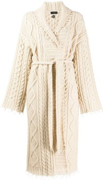 cable knit robe cardigan - White