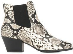snakeskin-print ankle boots - Black