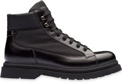 panelled lace-up boots - Black