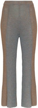 ribbed knit kick flare trousers - Brown