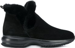 fur trimmed boots - Black