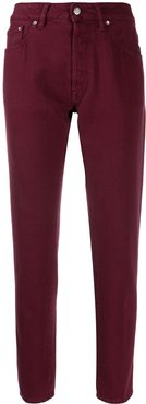 cropped straight leg jeans - Red