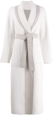 two tone belted coat - White