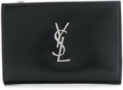 monogrammed small zipped wallet - Black