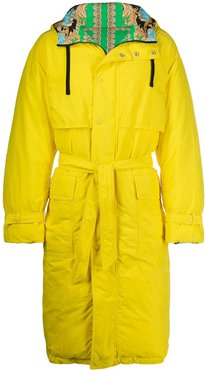 hooded belted raincoat - Yellow