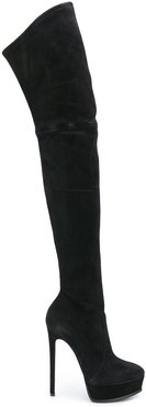 over the knee stiletto boots - Black