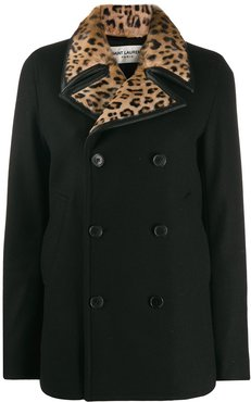 leopard print collar double-breasted coat - Black