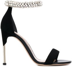 crystal strap sandals - Black