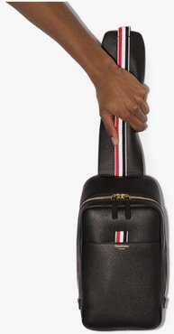 black stripe trim leather cross body bag