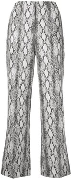 snake print trousers - White