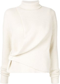 asymmetric turtleneck jumper - White