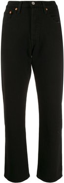 cropped straight-leg jeans - Black