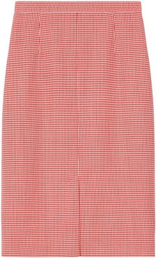 two-tone houndstooth skirt - Red