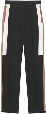 stripe detail wool tailored trousers - Black