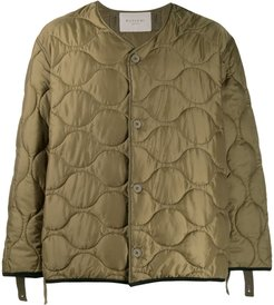 quilted graphic print jacket - Green