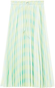 Diffused Gingham Georgette Pleated Skirt - Green