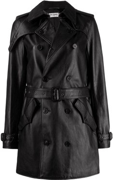 double-breasted leather coat - Black