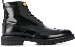 lace-up brogue boots - Black