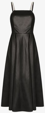 crystal A-line faux leather dress