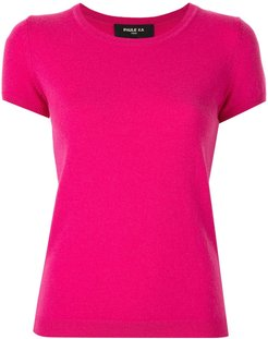 short-sleeved knitted top - PINK