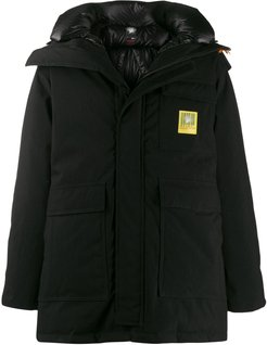 x Sacai hooded down parka coat - Black