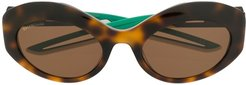 Hybrid oval sunglasses - Brown