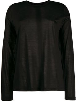 long sleeve knitted top - Black