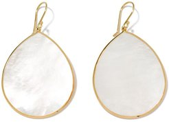 18kt yellow gold Jumbo Polished Rock Candy Single Stone Teardrop mother-of-pearl earrings