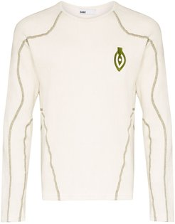 Asia Mono embroidered long sleeve T-shirt - NEUTRALS