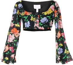 floral Picasso top - Black