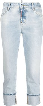 faded cropped jeans - Blue