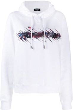 covered logo hoodie - White
