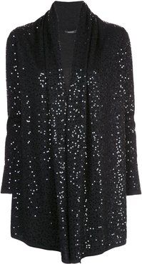 loose-fit sequin-embellished cardigan - Black