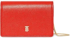 Grainy Leather Card Case with Detachable Strap - Red