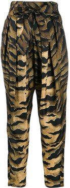 printed tapered trousers - Black