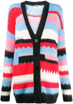 striped pattern cardigan - Black