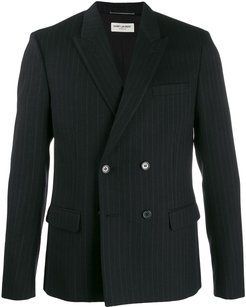 double breasted pinstripe suit jacket - Black