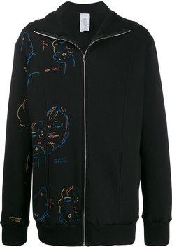 printed cotton zip up jacket - Black