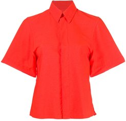 concealed fastening short-sleeve shirt - Red