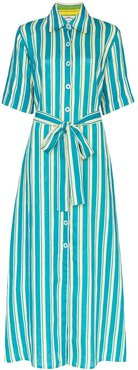 Sunflower striped maxi shirt dress - Blue