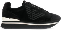 logo lace-up sneakers - Black