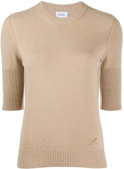 cropped-sleeve cashmere top - Brown