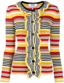 striped ruffled cardigan - Yellow