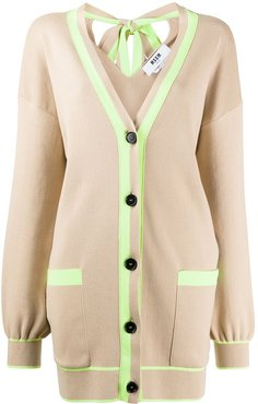 oversized neon trim cardigan - NEUTRALS