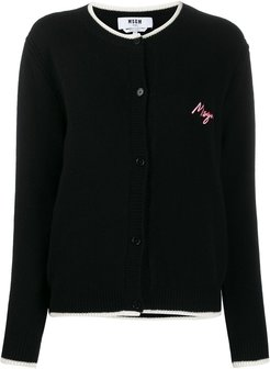trimmed logo patch cardigan - Black