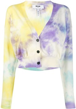 cropped tie-dye cardigan - Blue